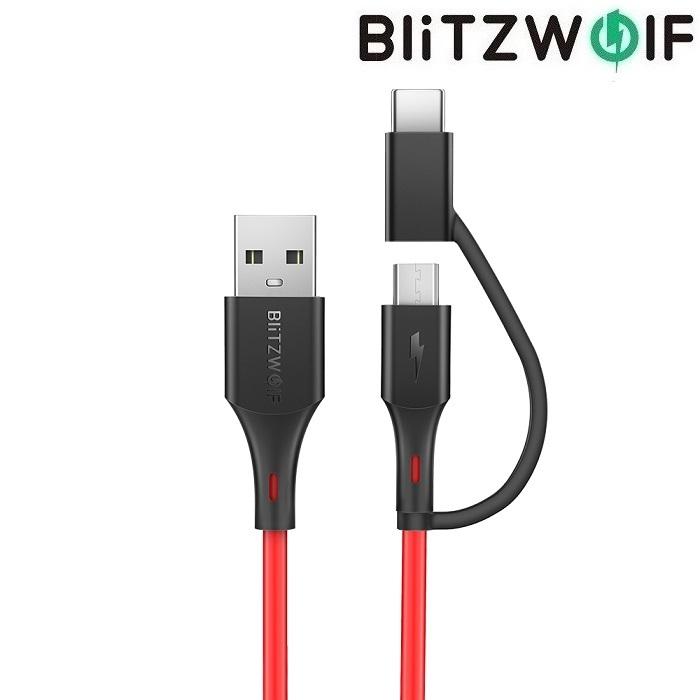 Кабель BlitzWolf USB-C microUSB BW-MT3